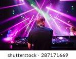 dj with headphones at night...   Shutterstock . vector #287171669