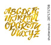 gold hand drawn alphabet... | Shutterstock .eps vector #287171708