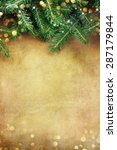 christmas fir tree border over... | Shutterstock . vector #287179844
