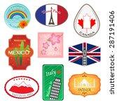 travel stickers design... | Shutterstock .eps vector #287191406