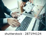 business documents on office