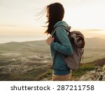hiker young woman with backpack ...   Shutterstock . vector #287211758