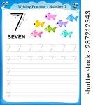 writing practice number seven... | Shutterstock .eps vector #287212343