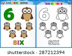 coloring page number six with... | Shutterstock .eps vector #287212394