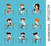 people using tablet computer. | Shutterstock .eps vector #287212739