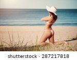 sexy young brunette in white... | Shutterstock . vector #287217818