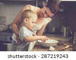 mom with her 2 years old child... | Shutterstock . vector #287219243