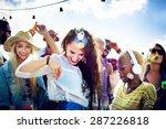 teenagers friends beach party... | Shutterstock . vector #287226818
