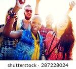 teenagers friends beach party... | Shutterstock . vector #287228024