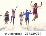 diverse beach summer friends... | Shutterstock . vector #287229794