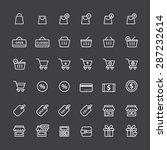 shopping icon set  white outline | Shutterstock .eps vector #287232614