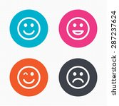 Circle Buttons. Smile Icons....