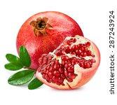 pomegranate isolated on white... | Shutterstock . vector #287243924