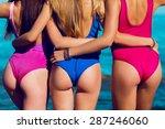 sexy backs  of three  beautiful ...   Shutterstock . vector #287246060