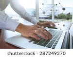 businessman hand working with... | Shutterstock . vector #287249270