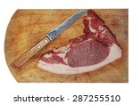 raw pork meat and knife on... | Shutterstock . vector #287255510