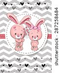 greeting card with two rabbits... | Shutterstock .eps vector #287258684