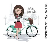 Pretty Girl With Bicycle In...