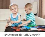 a little boy and a little girl... | Shutterstock . vector #287270444