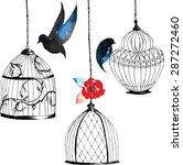 set hand painted birdcages  ... | Shutterstock .eps vector #287272460