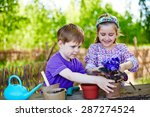 cute friends replanting african ... | Shutterstock . vector #287274524
