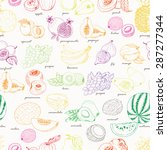 Seamless Pattern With Fruit On...