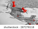 red marker over mexico | Shutterstock . vector #287278118