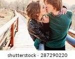 happy young loving couple... | Shutterstock . vector #287290220