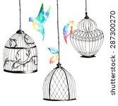set hand painted birdcages  ... | Shutterstock . vector #287300270