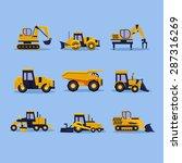 Set Icons Yellow Tractors...