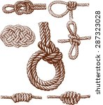 set of several nautical knots... | Shutterstock .eps vector #287323028