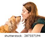 woman with her dog | Shutterstock . vector #287337194
