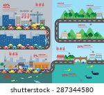countryside and big city... | Shutterstock .eps vector #287344580