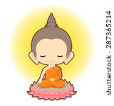 buddha sitting on lotus flower...   Shutterstock .eps vector #287365214