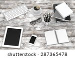 laptop and office stuff ... | Shutterstock . vector #287365478