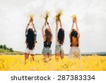 four beautiful hippie girl in a ... | Shutterstock . vector #287383334