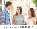 three happy friends talking... | Shutterstock . vector #287385110