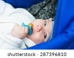 charming baby with a pacifier... | Shutterstock . vector #287396810