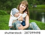 happy baby on the mother's...   Shutterstock . vector #287399498