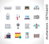 heating icons set with... | Shutterstock .eps vector #287416643
