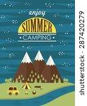 summer camp card design. vector ...   Shutterstock .eps vector #287420279