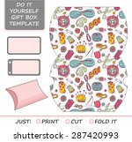 favor  gift box die cut. box... | Shutterstock .eps vector #287420993