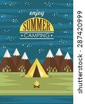 summer camp card design. vector ...   Shutterstock .eps vector #287420999