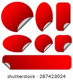 peeling red stickers set with... | Shutterstock .eps vector #287423024