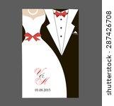 bride and groom wedding... | Shutterstock .eps vector #287426708