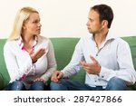 serious adult couple talking in ... | Shutterstock . vector #287427866