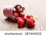 bucket of juicy strawberries on ... | Shutterstock . vector #287444033