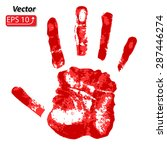 Horror Red Bloody Handprint...