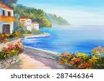 oil painting   house near the...   Shutterstock . vector #287446364