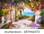 oil painting   house near the... | Shutterstock . vector #287446373